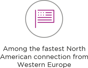 Fastest North American connection from Western Europe
